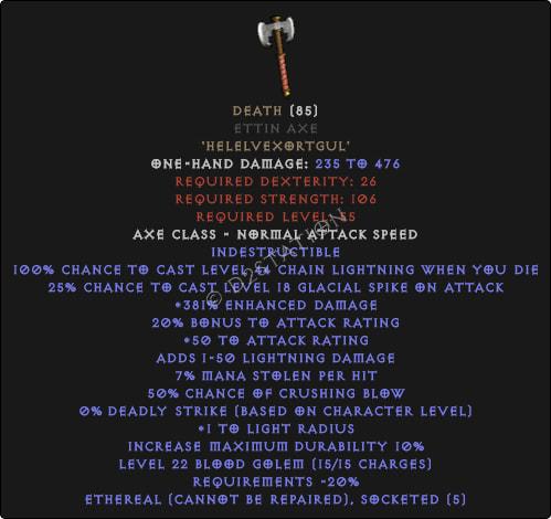 Death Ettin Axe - Ethereal - 380-399% ED