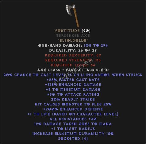 Fortitude Berserker Axe - 30 Res & 1-1.375 Life