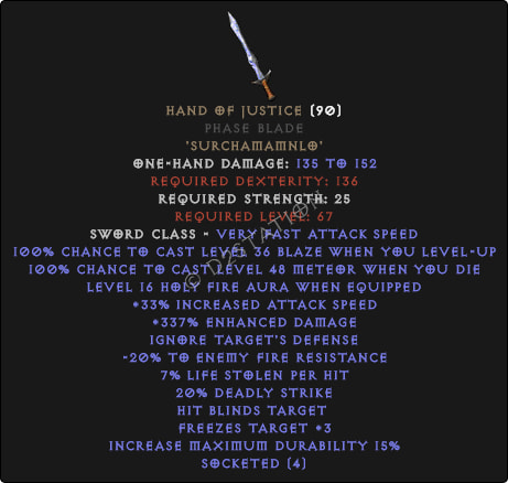 Hand of Justice Phase Blade - Perfect