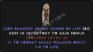 Paladin Combat Skills w/ 10-20 Life GC